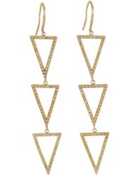 Jennifer Meyer | Metallic Pavé Diamond Gold Tripledrop Triangle Earrings | Lyst