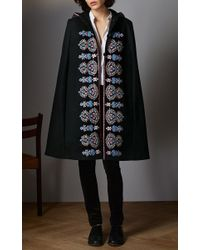 Vilshenko - Black Embroidered Wool Rosie Cape - Lyst