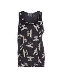 BOY London - Black Repeat-print Cotton-jersey Vest - Lyst