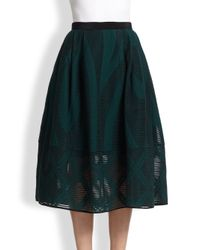 Tibi - Green Abstract-Patterned Sheer Burnout Midi Skirt - Lyst