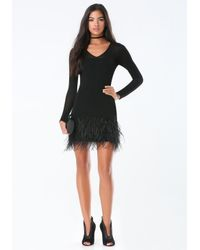 Bebe - Black Feather Trim Sweater Dress - Lyst