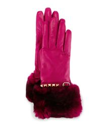 Valentino - Purple Rockstud Leather Gloves With Fur Cuffs - Lyst