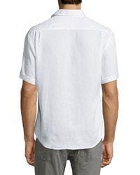 Neiman Marcus - White Regular-finish Linen Short-sleeve Linen Sport Shirt for Men - Lyst