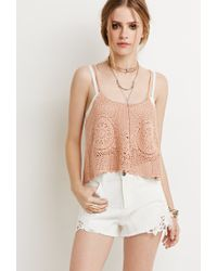 Forever 21 - Natural Crochet-paneled Denim Shorts - Lyst