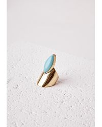 Missguided | Blue Abstract Stone Detail Ring Turquoise | Lyst