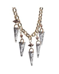 Nadia Minkoff | Metallic Crystal Shard Necklace Gold Patina | Lyst