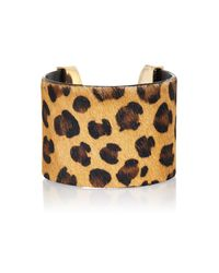 River Island Multicolor Leopard Print Pony Hair Cuff Bracelet