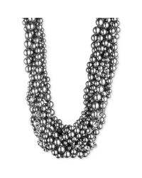 Givenchy - Metallic Silvertone Crystal and Glass Pearl Torsade Necklace - Lyst