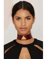 Nasty Gal | Red Milanna Alma Leather Choker | Lyst