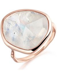 Monica Vinader | White Rose Gold Vermeil Moonstone Siren Ring | Lyst