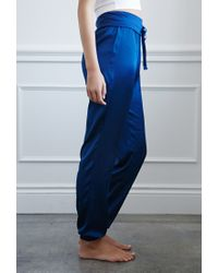 Forever 21 | Blue Drawstring Satin Joggers | Lyst