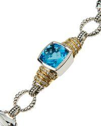 Lagos | Embrace Blue Topaz & Diamond Link Bracelet | Lyst