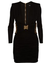 Balmain - Black Embellished Jersey Mini Dress - Lyst