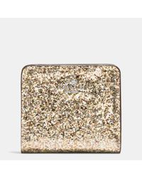 COACH - Metallic Small Wallet In Glitter Fabric - Lyst