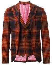 Vivienne Westwood - Orange Checked Layered Blazer for Men - Lyst