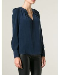JOSEPH - Blue Slash Pleated Neck Blouse - Lyst