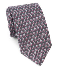 Ferragamo | Gray Owls & Flowers Silk Tie for Men | Lyst