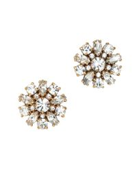 J.Crew | White Jeweled Button Earrings | Lyst