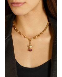 Aurelie Bidermann - Metallic 18-Karat Gold, Ruby And Diamond Apple Core Necklace - Lyst