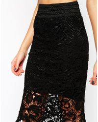 AX Paris - Black Crochet Pencil Skirt - Lyst