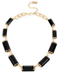Kenneth Cole | Metallic Gold-tone Black Stone Collar Necklace | Lyst