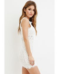 Forever 21 - Natural Rope-embroidered Lace Mini Dress - Lyst