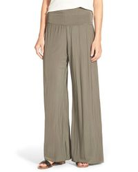 NIC+ZOE | Green 'Feel Good' Foldover Waist Textured Knit Pants | Lyst