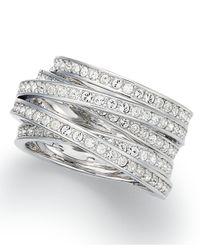 Swarovski - Metallic Silver-tone Crystal Spiral Ring - Lyst