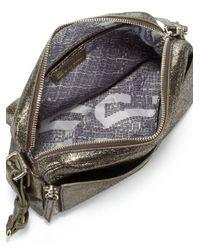Olivia Harris | Unzipped Metallic Suede Crossbody Bag | Lyst