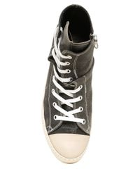 Miharayasuhiro - Black Crackled Leather High Top Sneakers - Lyst