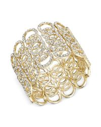 INC International Concepts | Metallic Gold-tone Crystal Pavé Circle Stretch Bracelet | Lyst