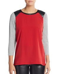 NYDJ | Red Colorblock Leather-inset Tee | Lyst