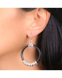 Black.co.uk - Metallic Lola Silver Plated And Black Hoop Earrings - Lyst