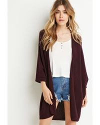 Forever 21 - Purple Marled Open-front Cardigan - Lyst