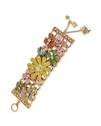 Betsey Johnson - Yellow Pave Flower Wide Toggle Bracelet - Lyst