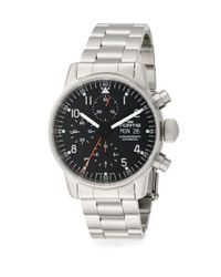 Fortis - Pilot Professional Stainless Steel Black Chronograph Watch for Men - Lyst