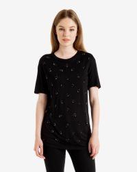Ted Baker | Black Crystal Drop Embellished T-shirt | Lyst