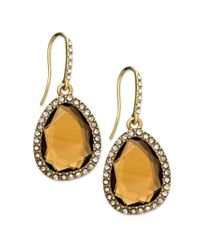 Lauren by Ralph Lauren - Metallic Goldtone Topaz Stone and Pave Crystal Teardrop Earrings - Lyst
