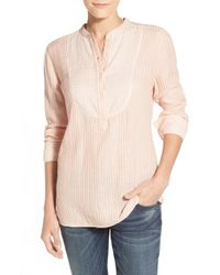 Caslon - Pink Bib Front Mix Stripe Shirt - Lyst
