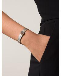 Eddie Borgo - Metallic Clear Pave Cone Leather Bracelet - Lyst