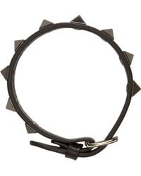 Valentino - Black And Gunmetal Studded Bracelet - Lyst