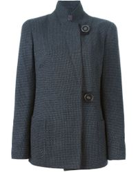 Giorgio Armani - Gray Stand-Collar Stretch-Wool Jacket  - Lyst