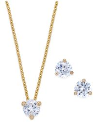 kate spade new york | Metallic 14k Gold-plated Crystal Stud Earrings And Pendant Necklace Set | Lyst