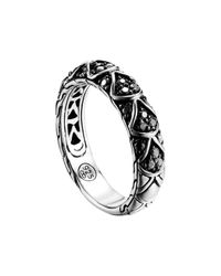 John Hardy | Metallic Naga Silver Lava Slim Band Ring With Black Sapphire | Lyst