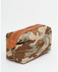 ASOS - Green Wash Bag In Khaki Camouflage Print Canvas And Faux Leather for Men - Lyst
