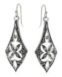 2028 | Metallic Silver-tone Linear Drop Earrings | Lyst