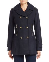 Vince Camuto | Blue Double-breasted Military Coat | Lyst