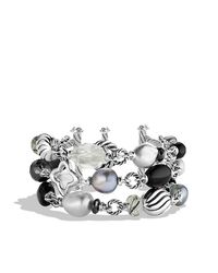 David Yurman | Metallic Bead Three-row Bracelet | Lyst