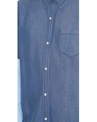 VINCE | Blue Colorblock Chambray Blouse | Lyst