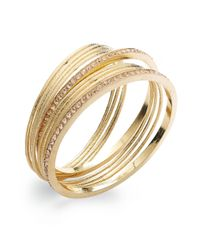 INC International Concepts - Metallic Gold-tone Angel Peach Pavè Bangle Bracelet Set - Lyst
